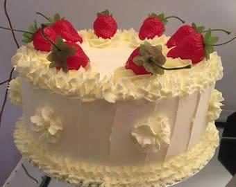 8in round fake lemon cake