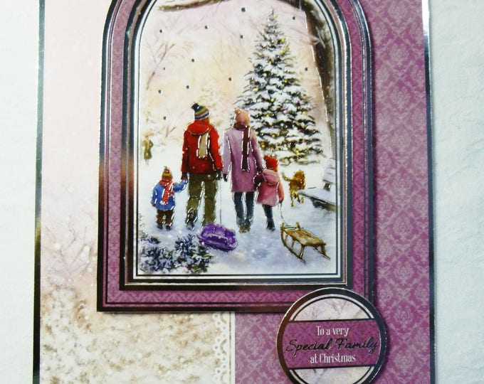 Special Family At Christmas, Greeting Card, Family Walking in the Snow, Christmas Card, Male or Female, Any Age,