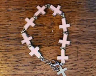 Vintage Pink Cross bracelet....enamel crosses....silvertone metal