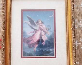 Gorgeous vintage picture, double matted,ornate wooden frame,painted gold frame, comforting angels