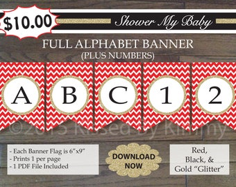 Black Red Gold Baby Shower  70% Off FULL ALPHABET + Numbers Banner