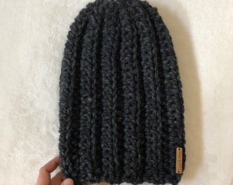 The Crochet Adult Slouchy Beanie | Charcoal | Ready to Ship