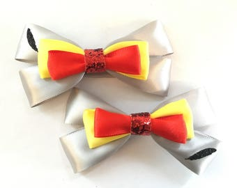 Dumbo, Dumbo hair bows, hair clip, hair accessory, hair bows, birthday, elephant, feather, grey, red, women, baby, gift, baby bows