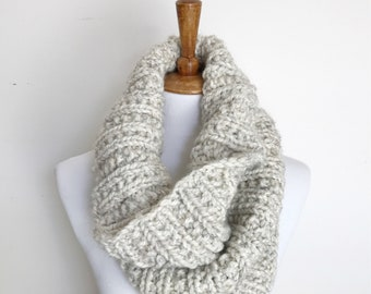 THE BENDIGO COWL - Chunky Hand Knit Ribbed Cowl Neck Warmer - Snood Scarf - Womens Accessories - Oatmeal