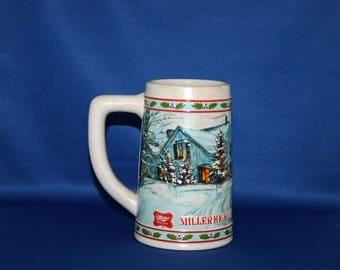 Vintage Ceramarte 1984 Miller High Life Handcrafted Limited Edition Holiday Beer Tankard / Stein Made in Brazil Beer Mug