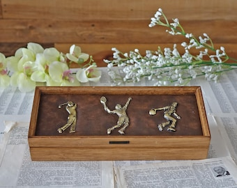 Vintage wooden jewelery box with sports figures Golf Tennis Bowling Jewelry holder Gift for him