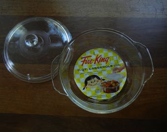 Fire King 1 1/2 Quart Casserole with Lid ~ New