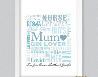 Personalised Mother Mummy Mum Typography Word Art Print Special Memory Words Mother's Day GIFT