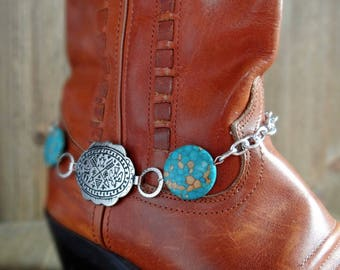 Boot bracelet, Turquoise and silver boot bracelet, Tribal stamped boot bracelet, Cowboy boot bracelet, Cowgirl boot bling, Tribal bracelet