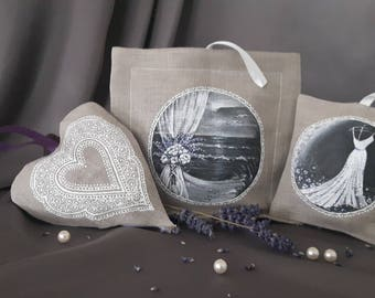Linen hand painted wedding gift, lavender sachets (organic dried lavender inside)