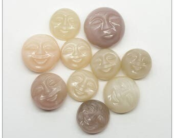 Smiling Round Carved Faces in Natural Multi-Colored Moonstone 13mm to 18mm