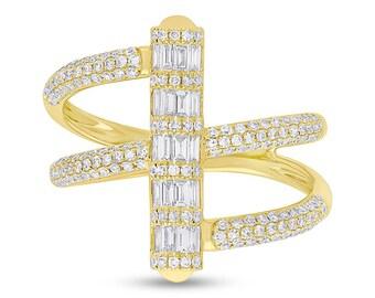 Unique 0.73ct 14k Yellow Gold Diamond Baguette Lady's Ring