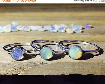 On Sale Natural Opal Ring 925 - Stacking Ring - Fire Opal Ring - Ethiopian Opal Ring - October Birthstone Ring