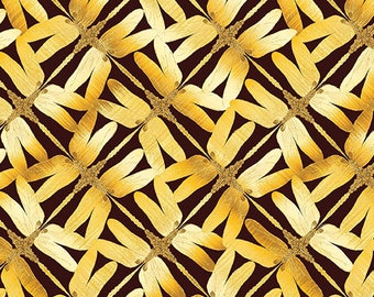 Sun Valley, Dragonfly Fabric, Golden Dragonflies on a brown background, by Benartex 8655-77