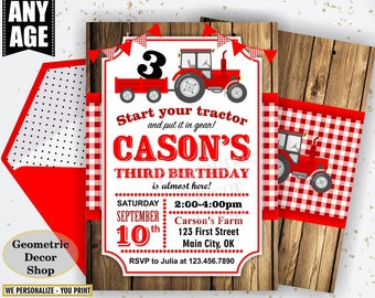 Tractor Birthday Invite, Tractor Invitation, Tractor Birthday Invitations, Tractor Invites, Woodland, Digital File, Red Plaid Boy Girl BDT38
