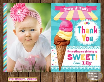 Ice Cream Thank you card Party Ice cream Birthday Pink Yellow Teal Digital PRINTABLE Photo Photograph THIS1