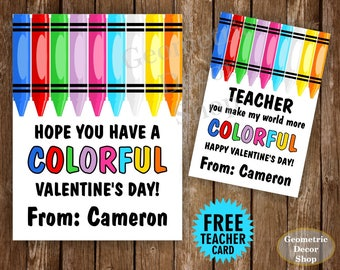 Colorful / Crayons / Crayon / Pink / Teal / Girl / Valentine / Card / Valentines / Valentine's / Day / Personalized / Tags / teacher /Card67