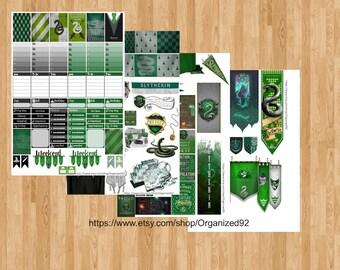 Slytherin Printables / Printable Hogwarts Stickers / Harry Potter Planner Printable / Planner Stickers / Printable Stickers