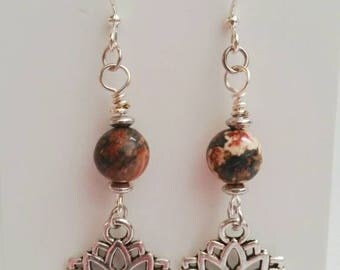Leopard Jasper and Lotus earrings