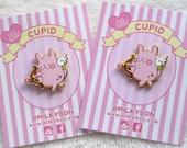 Angel Momousagi Peach Bunny Valentines Cupid Hard Enamel Pin (gold)