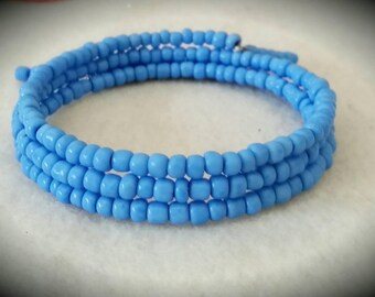 Blue Seed Bead Memory Wire Wrap Bracelet
