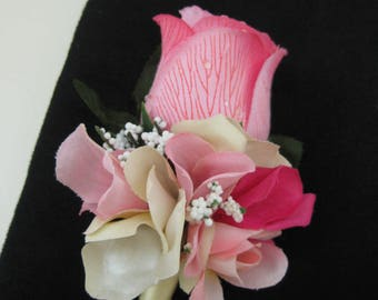 Romantic Pink Dark Cream Wedding Groom Rose Silk Flower Boutonniere