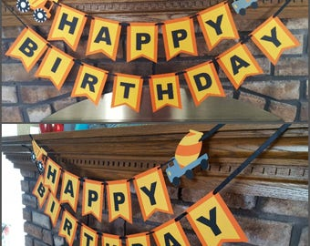 Construction Themed Name Banner, Cobstruction Birthday Banner, Construction Highchair Banner