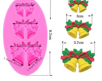 3 Hole Christmas bells chocolate Candy Cookie cake decorating tools DIY baking fondant silicone mold Gumpaste Candy