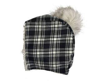 Cordelia - Black Plaid Bonnet / Trapper Hat