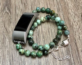 African Turquoise Bracelet for Fitbit Charge 2 Activity Tracker Handcrafted Jasper Beads Fitbit Charge 2 Band Adjustable Silver Magnet Clasp