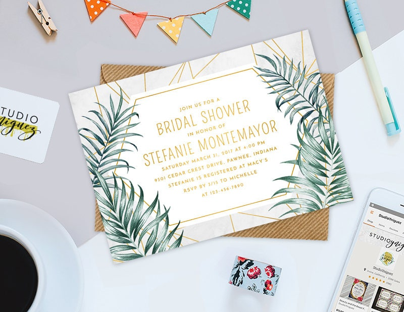 geometric gold palm leaves bridal shower printable 7 x 5 invitation modern bridal