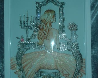 Girl at a Vanity/Dressing Table Glitter Canvas A4 size