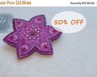 Purple brooch, Purple flower brooch, Star brooch, Star pin, Purple accessory, Hand-painted brooch, Big purple brooch
