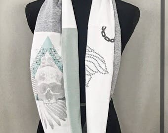 Skull Scarf, Spring Cotton Scarf, Pastel Scarf, Diamond Handmade OOAK Upcycled t shirt Scarf, One Wrap, Artsy Infinity Scarf, Unique scarves