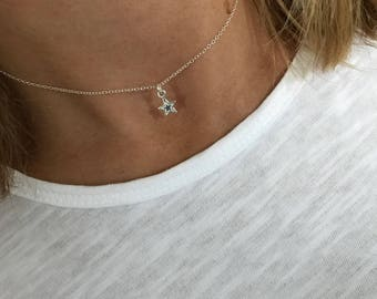 Sterling Silver Star Necklace/Star Choker Necklace/Star Necklace/Sterling Silver/Choker/Short Chain/Delicate/Star Charm/Everyday/Gift/uk