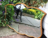 beautiful Bevelled mirror  rare vintage mirror with slim pint style wooden frame.