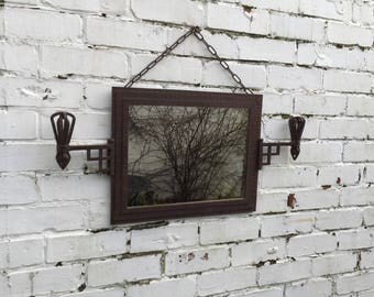 Rare Cast Iron Mirror With Iron Arms - solid heavy mirror, gothic medieval mirror.