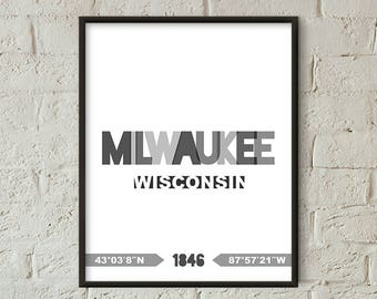 Milwaukee Print, Milwaukee Printable, Milwaukee Poster, Milwaukee Wall Art, Milwaukee Coordinates, Milwaukee Minimalist (W0236)