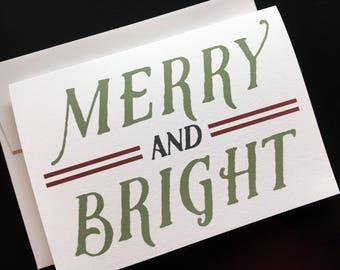 Printed Green and Red Merry and Bright Christmas Card Pack Red Holiday Card Green Christmas Card Xmas Card 5x7