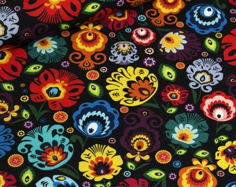Fabric Jogging folklore flowers on a black background   Per Metre