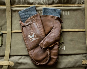 1950s USAF Air Force Wool Lined Brown Leather Stenciled Flight Gloves Mitts ww2 gauntlets Buzz Rickson rrl real mccoy filson Nigel Cabourn
