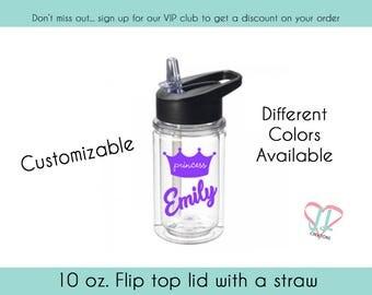 Princess Crown Water Bottle - 10 oz - Gift for Princess