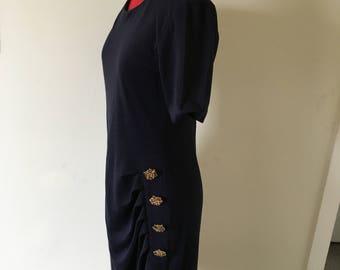 Navy vintage jersey dress