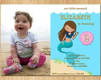 Our Little Mermaid Printable Mermaid Invitation Birthday, Beach Party Invite with Seashell, Birthday Invitation, Brown Hair, Printable K0026