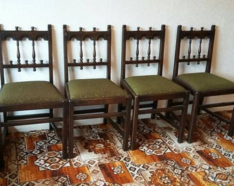 Genuine Ercol Gothic Carved Look Dining Chairs. X4 Vintage retro.