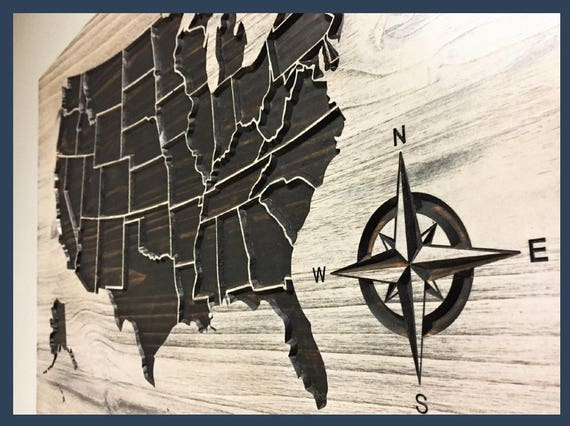 US Map Wall Decor Compass US Map Wall Art Wooden Map - Us map wall decor