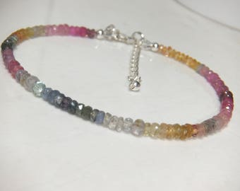 Natural MultColour Sapphire Faceted Rondelle And Sterling Silver Adjustable Bracelet