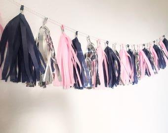 Tassel Garland | Tassel Banner | Tassels | Navy Blue and Pink Tassel Garland | Navy Blue and Pink Party | Navy Blue and Silver | Party Decor