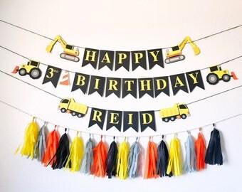 Construction Birthday Party | Boy Birthday | Construction Theme Birthday | Tractor Banner | Gold Rush Banner | Black and Yellow Decoratio