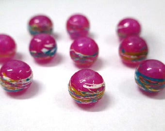 multicoloured drawbench glass fuchsia painted (B-32) 8mm 10 beads